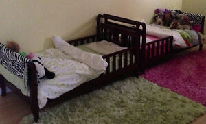 espresso toddler bed like new/ and one painted white