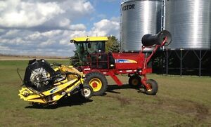 2011 New Holland H8040 Swather, GPS, swath roller, roto shears