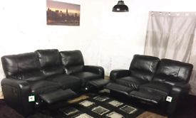 °Black Real leather recliners 3+2 seater sofas