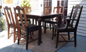 Antique Dining Room Table Six Chairs