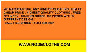 We manufacture clothing| Minimum Order 50 pieces | Free Delivery