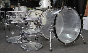 DW clear acrylic drumset with DRUMLITE installed