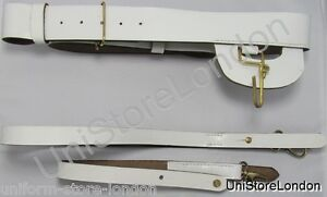 Belt Sword Belt White Leather Long & Short Slings With Brass Fitting R1193