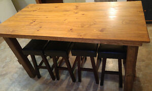 Hand Crafted Harvest Table and bar stools