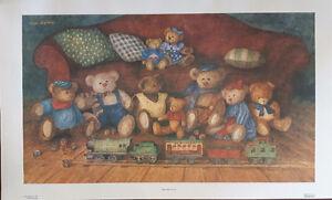 Choo choose bears 18x30 Anna Krajewski signed print