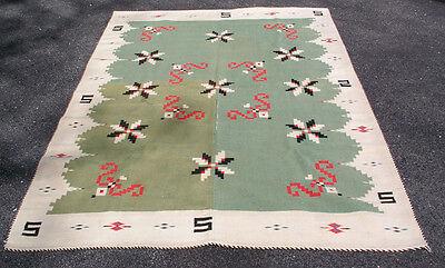 "Antique Green Mexican Serape Saltillo Texcoco Vallero Stars Blanket Rug 55""x84"""