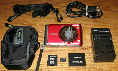 Canon PowerShot A3100 IS 12.1 MP 4.0x Optical Zoom UVGC Red Guarantee Bundled