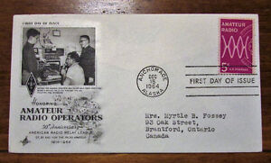 1964 US Amateur Radio Operators 5 Cent First Day Cover Kitchener / Waterloo Kitchener Area image 2