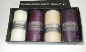 """BOX WITH 4 AROMATIC CANDLES - NEW - 4""""HIGH CANDLES"""