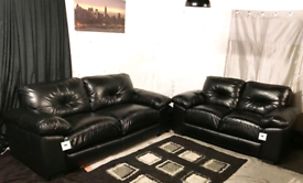 • Dfs new ex display black real leather 3+2 seater sofas