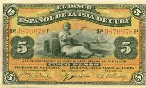 BILLET PAPIER MONNAIE CUBA 5 PESOS 1896