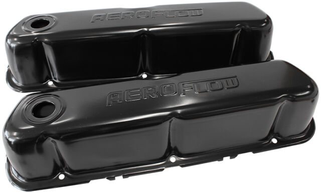AEROFLOW Black Steel Valve Covers Suit Ford 289-302-351 Windsor With LOGO