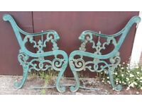 Pair Of Full Size Green Cast Iron Garden Bench Ends With Lion Head Terminals