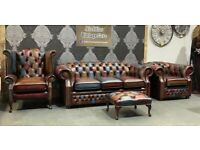 NEW Chesterfield 3 Seater Sofa Wing Back Chair Club Chair Patchwork Harlequin Leather - UK Delivery