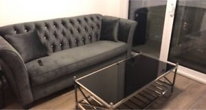 Dark Grey Tufted Velvet Couch 3 Seater