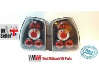 BLACK REAR BACK LIGHTS FOR VW LUPO 97-04 & SEAT AROSA 98-05