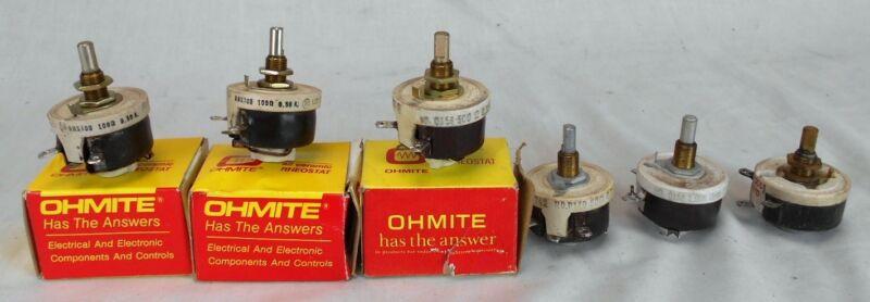 Lot of 6 Miscellaneous Ohmite Ceramic Rheostats NOS