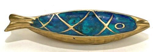 "Mexican Modernist Pepe Mendoza Brass & Inlay Fish Dish Ashtray - 7"" Long-Vintage"