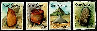 St. Lucia 905-909, complete MNH set of 4 stamps with anthropological artifacts.