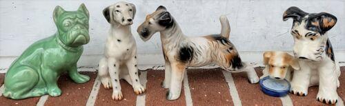 4 Vintage Dog Figurines-Dalmatian-Green Bulldog-Airedale Terrier-Mom/Puppy-Japan