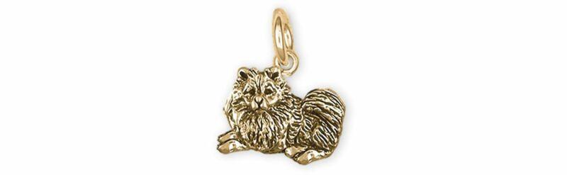 Keeshond Jewelry 14k Gold Handmade Keeshond Charm  KSH1B-XG