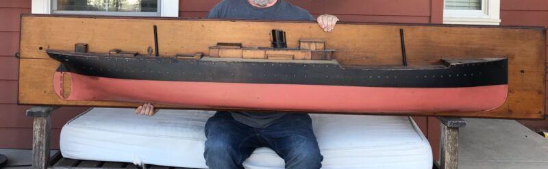 Antique Vintage LARGE Wooden Half Hull Boardroom Steamship Ship Model