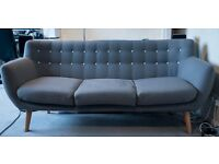 Swoon Editions - 3 Seater Mimi Sofa - Mink Grey - RRP £699 - 1 Year Old, Like New - Limited Edition
