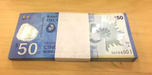 URUGUAY  POLYMER 50 PESOS COMMEMORATIVE BANKNOTE 2016 (2017) X 100  UNC