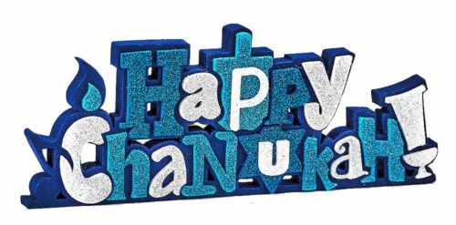 """Happy Chanukah"" Foam Decoration with Glitter Accents - Jewish Holiday- Hanukkah"