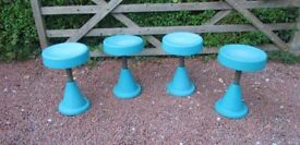 SET OF FOUR ORIGINAL RETRO 1960's FIBRE GLASS STOOLS