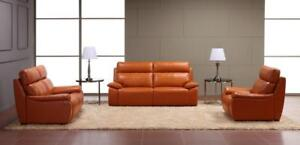 Orange Real Leather 3 PC Sofa Set (SK08)