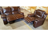 2 + 1 Seater Genuine Leather Recliner Sofas - Chocolate.