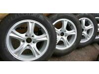 Winter wheels 5 x 110 zafira astra saab fiat with good year tyres