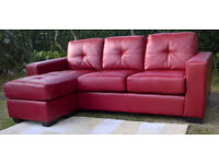 Ex-display Rio 3 Seater Red Leather Corner Lounger.