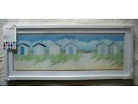 Beach Hut Row Seaside Picture PANORAMIC Glass Framed WALL ART Print Gallery 15