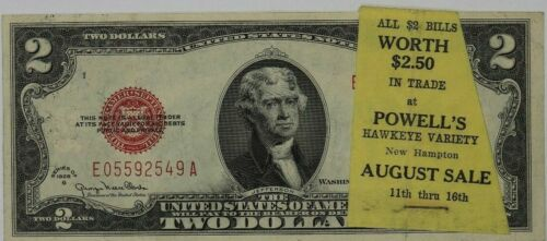 1928 G $2 LEGAL TENDER RED SEAL ADVERTISEMENT NOTE NEW HAMPTON IOWA SCARCE (549A