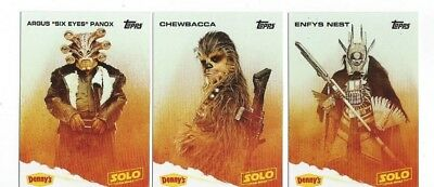 Dennys Topps Solo Complete Set Of 12 Star Wars Cards 2018 Han  Lando Chewbacca
