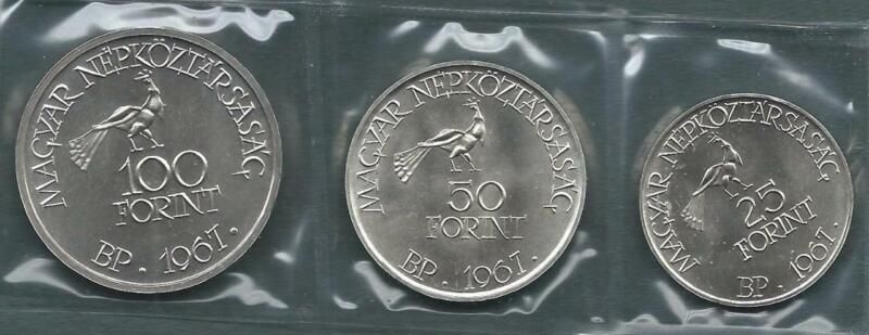 HUNGARY - 1967 silver 25,50 & 100 Forint - Kodaly - 3pc BU set