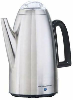 Electric Percolator 12 Cup Stainless Steel Coffee Maker Pot Vintage Portable NEW Stainless Coffee Pot