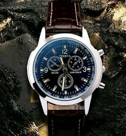 Mens Black Mechanical Wrist Watch
