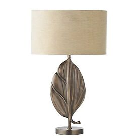 BRAND NEW!! Ferno Antique Brass Table Lamp with Gold Silk Shade