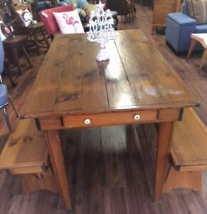 Antique Harvest Dining Table with 2 Benches