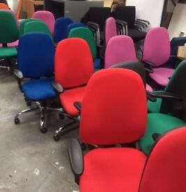 38 - OPERATOR CHAIRS - LARGE BACK- CHROME BASE & ADJUSTABLE ARMS -MANY COLOURS AVAILABLE - SEE BELOW
