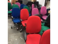 62 - OPERATOR CHAIRS - LARGE BACK - ADJUSTABLE ARMS - ALU BASES - GREEN / BLUE / PINK / ORANGE / RED
