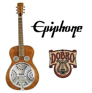 USED EPIPHONE DOBRO GUITAR HOUND DOG DELUXE ROUND NECK RESONATOR GUITAR - BROWN 104019823