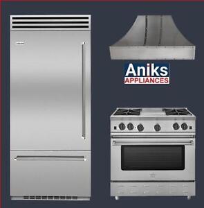 "BBB36SSL1 36"" Built-In Refrigerator RNB364CBV2 36"" Gas Range BSWRAN36SS 36"" Professional Hood"