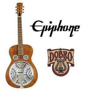 USED EPIPHONE DOBRO GUITAR HOUND DOG DELUXE ROUND NECK RESONATOR GUITAR - BROWN 104019823