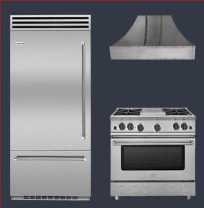 "BlueStar BBB36SSL1 36"" Built-In Refrigerator RNB364CBV2 36"" Gas Range BSWRAN36SS 36"" Professional Hood in store special"