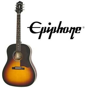NEW EPIPHONE ACOUSTIC-ELEC GUITAR MASTERBILT AJ-45ME ACOUSTIC ELECTRIC GUITAR - VINTAGE SUNBURST 105209989