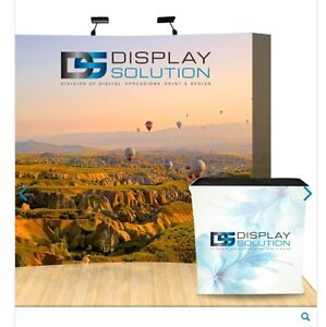 Brand New 8ft Pop Up Exhibit Display with Custom Graphics, LE